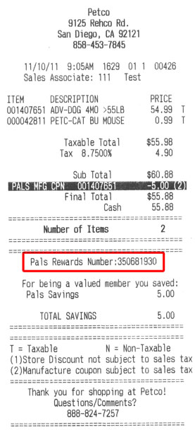 Pals Rewards Number Location on Receipt